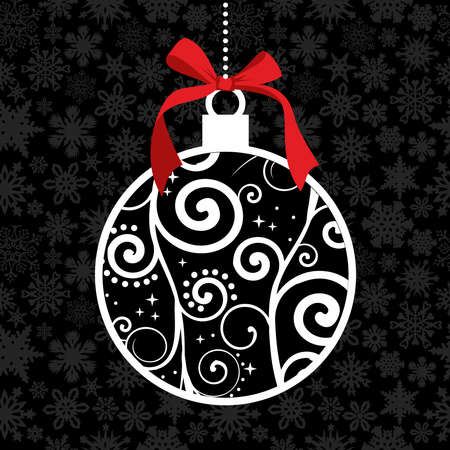 christmas ball: White Christmas hanged bauble over seamless snowflake pattern background. Vector illustration layered for easy manipulation and custom coloring.