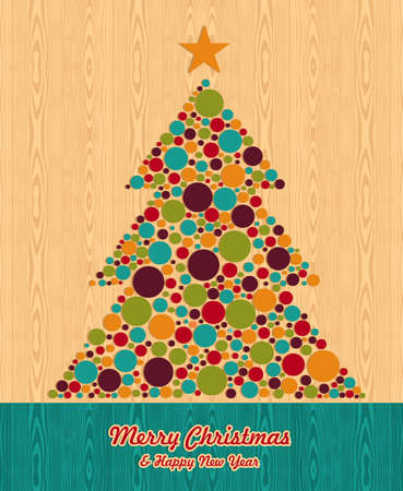 Abstract Christmas dotted pine tree over wooden background. Vector illustration layered for easy manipulation and custom coloring. Stock Vector - 16307616
