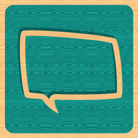Retro speech bubble over wooden background. Vector