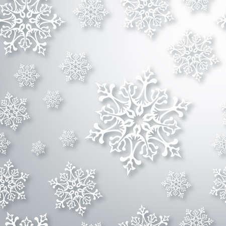 spangle: White Christmas snowflakes seamless pattern background.