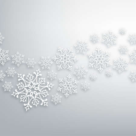 snowflake: White Christmas snowflakes contemporary seamless pattern.
