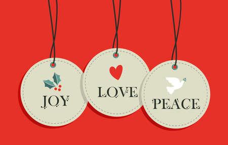 paloma de la paz: Feliz Navidad etiquetas para colgar elementos de venta establecido. Vectores