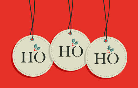 Ho, ho, ho xmas sale hang tags set.  Vector