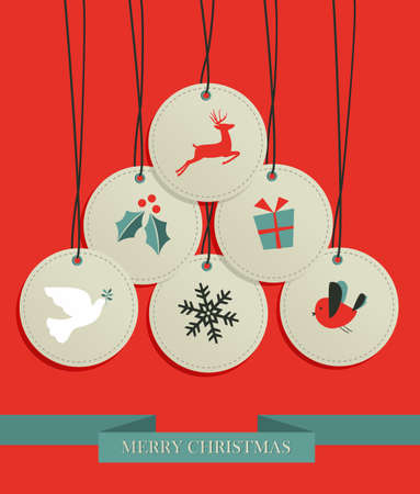 Merry Christmas sale set tags in pine tree shape.  Vector