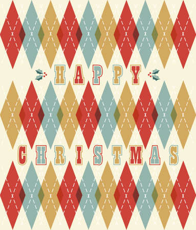 Happy christmas retro geometric seamless pattern background illustration.  Vector
