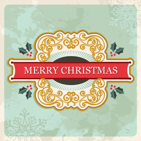 Vintage Merry christmas sign over grunge background Vector
