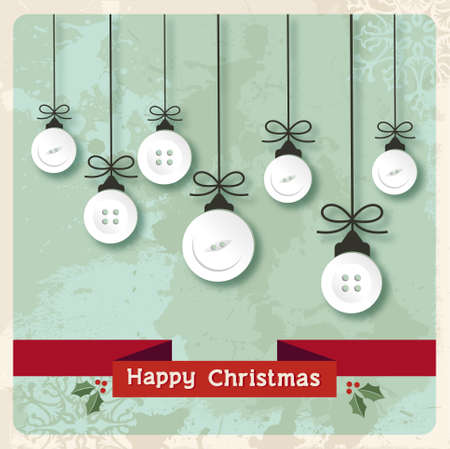 Vintage Christmas hanged baubles made of clothing buttons over grunge background.  Vector