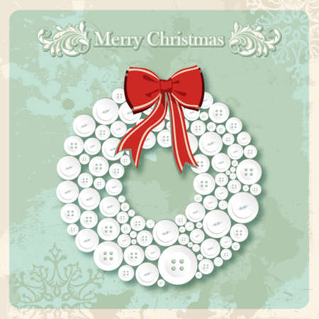 Vintage Merry Christmas wreath made of clothing buttons over grunge background. Stock Vector - 16463936