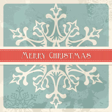 Happy christmas retro greeting card illustration. Vector