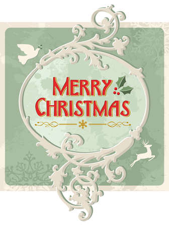 Merry christmas vintage sign over grunge background. Stock Vector - 16463928