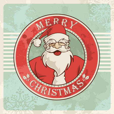 Retro Merry christmas santa greeting card sign over grunge background. Stock Vector - 16463932