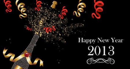 celebrate life: Diamond champagne bottle with gold ribbon New Year celebration splash