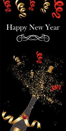 ruban or: Bouteille de champagne diamant avec un ruban d'or de c�l�bration du Nouvel An Illustration