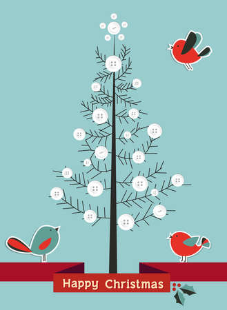 Snowy Christmas pine tree made with buttons and birds  Vector