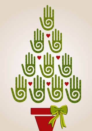 Eco friendly Christmas Tree hands greeting card   Vector