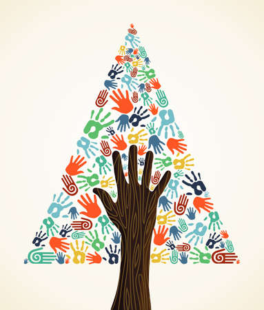Diversity Christmas Tree hands background for greeting card Stock Vector - 16494247