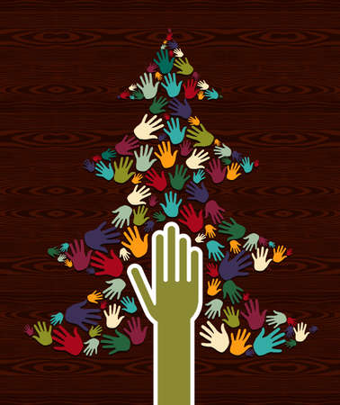 Diversity multi colored Christmas Tree hands background for greeting card   Stock Vector - 16494251