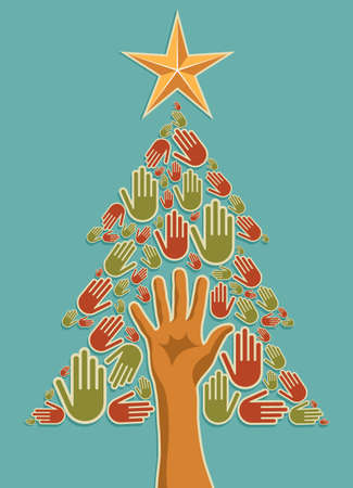 support group: Diversity Christmas Tree hands background for greeting card