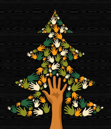 Diversity eco friendly Christmas Tree hands background for greeting card  Stock Vector - 16494249