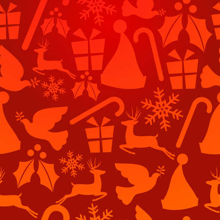 endlos: Red Christmas elements seamless pattern background