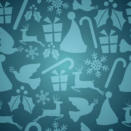 endlos: Blue Christmas Elemente seamless pattern