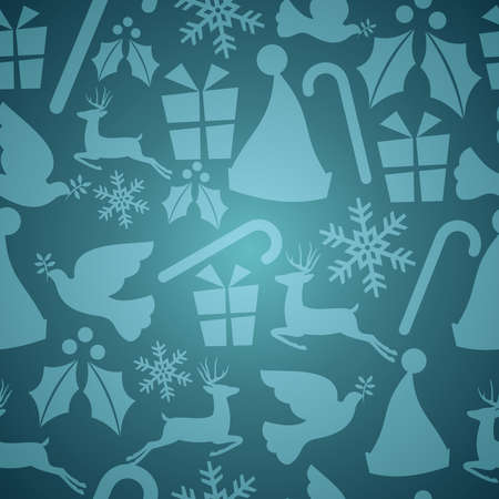 Blue Christmas elements seamless pattern  Vector
