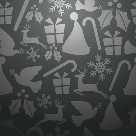 Monochrome Christmas elements seamless pattern   Vector