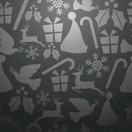 endlos: Monochrome Christmas elements seamless pattern Illustration