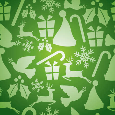 dove of peace: Green Christmas elements seamless pattern  Illustration
