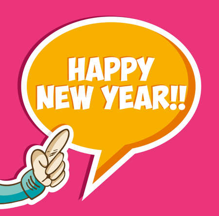 Happy New year cartoon hand with greeting social bubble background  Vector file layered for easy manipulation and custom coloring Vector