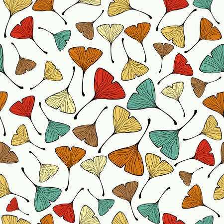 ginkgo: Sketch style Ginko biloba Leaf Seamless pattern background  Vector file layered for easy manipulation and custom coloring