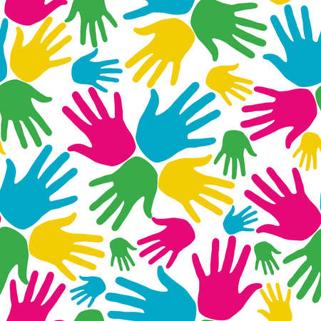 five fingers: Social diversity bright colors hands up pattern  Vector file layered for easy manipulation and custom coloring