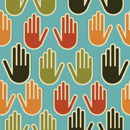 raised hand: Multi-Ethnic human hands seamless pattern background  Vector file layered for easy manipulation and custom coloring