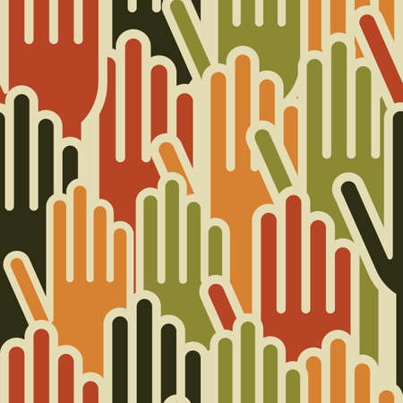 endlessly: Diversity human hands seamless pattern background  Vector file layered for easy manipulation and custom coloring