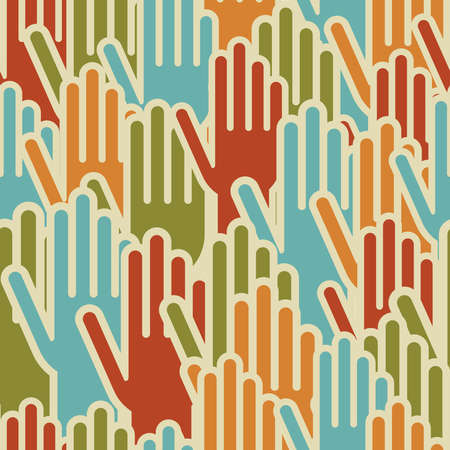 raised hand: Diversity hands up seamless pattern background  Vector illustration layered for easy manipulation and custom coloring
