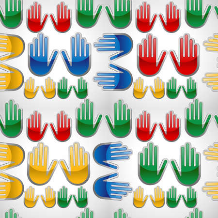 indian student: Diversity colors glossy icon hands seamles pattern   Vector illustration layered for easy manipulation and custom coloring