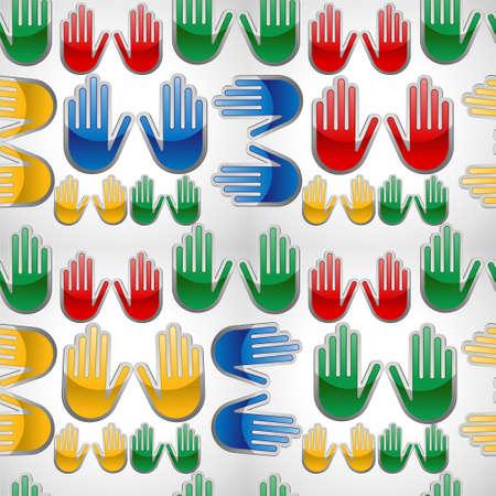 endlos: Diversity Farben glossy icon Händen seamles pattern Vektor-Illustration für eine einfache Handhabung und individuelle Färbung geschichtet Illustration