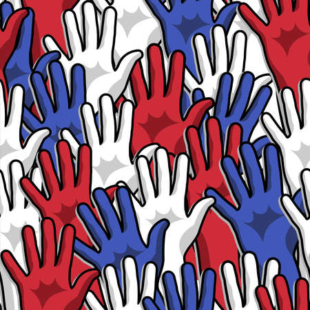 Democracy voting hands up seamless pattern background Vector file layered for easy manipulation and custom coloring
