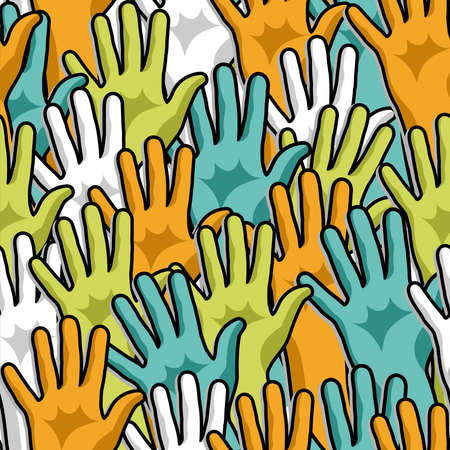 many hands: Social participation diversity hands up seamless pattern  Illustration layered for easy manipulation and custom coloring  Illustration