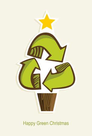 reduce reutiliza recicla: El verde recicla s�mbolo del �rbol de navidad en la ilustraci�n vectorial de dibujos animados de estilo en capas para una f�cil manipulaci�n y colorante de encargo