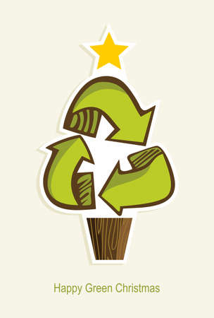 Green Recycle symbol Christmas tree in cartoon style   Vector illustration layered for easy manipulation and custom coloring  Illustration