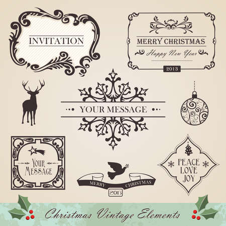 peace and love: Vintage christmas and new year season elements sale set  Vector illustration layered for easy manipulation and custom coloring