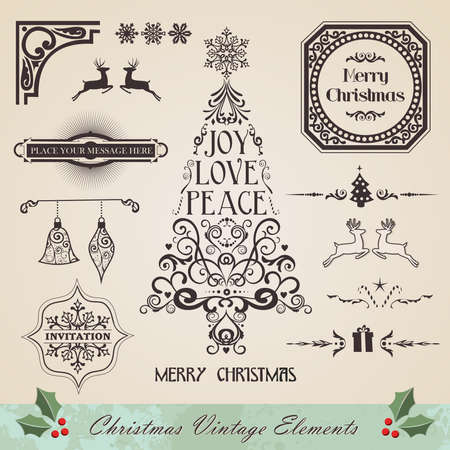 Vintage christmas swirl tree and season elements sale set  Vector illustration layered for easy manipulation and custom coloring  Illustration