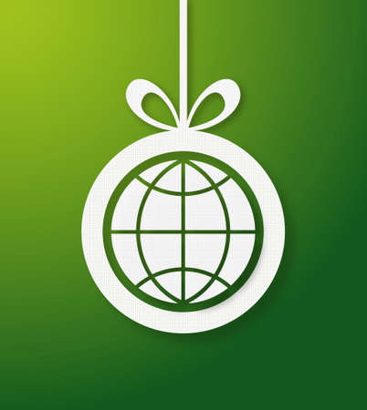 Christmas bauble in green background with world icon  Vector illustration layered for easy manipulation and custom coloring  Vector