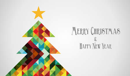 Merry Christmas and happy new year mosaic pine tree greeting card. Vector illustration layered for easy manipulation and custom coloring. Stock Vector - 16555792