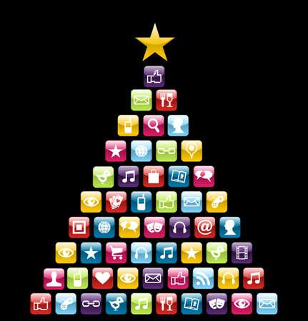 Brillante iconos sociales y multimedia en la tarjeta de felicitación de Navidad árbol de pino. Ilustración vectorial en capas para una fácil manipulación y coloración personalizada.