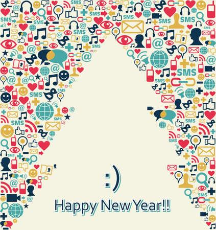 trabajo social: Iconos de medios sociales en Navidad tarjeta de felicitaci�n del �rbol de pino. Ilustraci�n vectorial en capas para una f�cil manipulaci�n y coloraci�n personalizada.