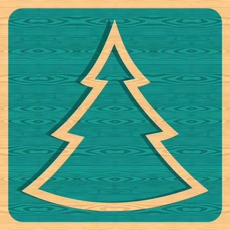 Retro Christmas pine tree silhouette over wooden background. Vector illustration layered for easy manipulation and custom coloring.