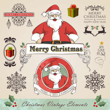 Vintage christmas and new year season elements sale set. Vector illustration layered for easy manipulation and custom coloring. Vector