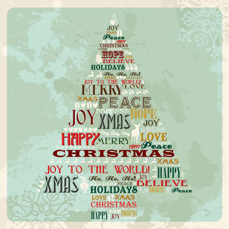 Vintage Merry Christmas concept words and icons in pine tree shape. Vector illustration layered for easy manipulation and custom coloring.